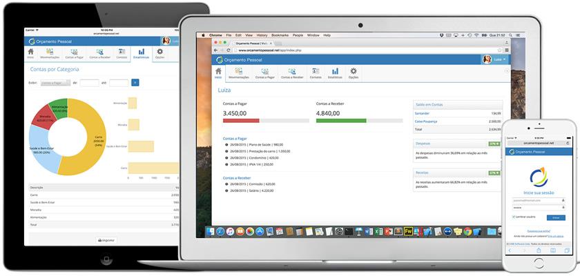 O Orçamento Pessoal permite controlar suas finanças em qualquer computador, tablet ou celular com Internet.