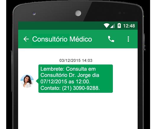 Envie mensagens SMS com o Consultório, sem custo adicional
